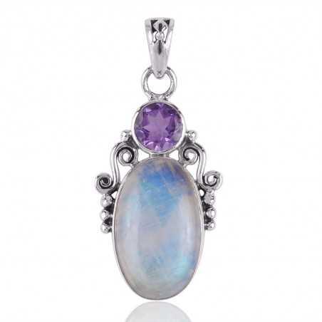 Amethyst,Rainbow Moonstone Gemstone Sterling Silver Pendant