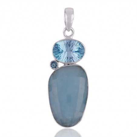 Aquamarine ,Sky Blue Topaz 925 Silver Pendant