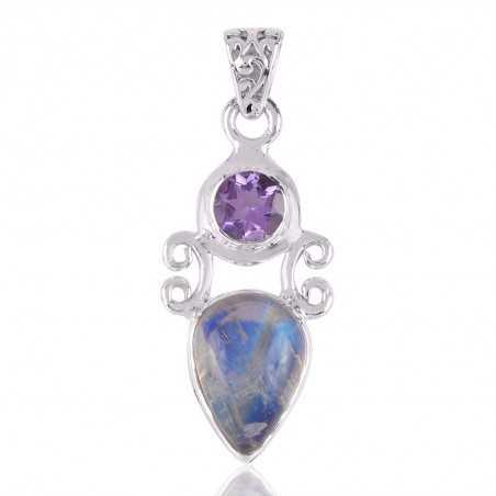 Natural Amethyst,Moonstone Gemstone 925 Silver Pendant