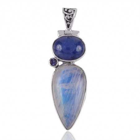 Iolite,Moonstone,Tanzanite Gemstone Silver Pendant