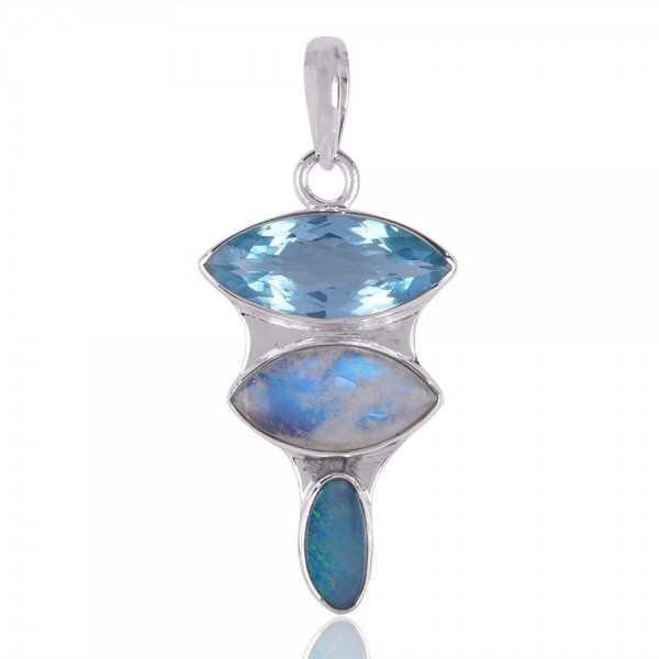 Doublet Opal Multigemstone 925 Silver Pendant