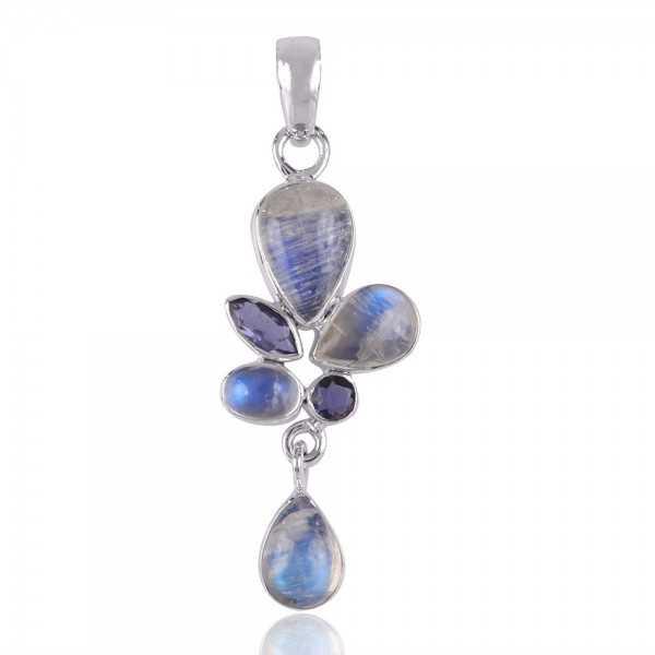 Iolite,Rainbow Moonstone Gemstone 925 Silver Pendants