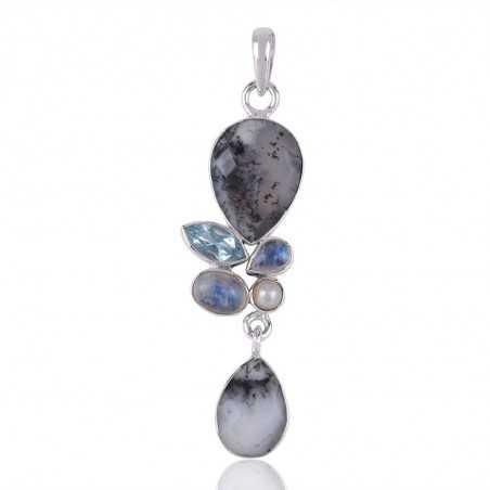 Dendritic Opal,Multigemstone 925 Silver Pendants