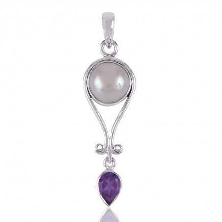 Amethyst,Pearl Gemstone Sterling Silver Pendants