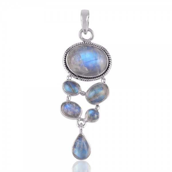 Rainbow Moonstone Gemstone 925 Sterling Silver Pendant
