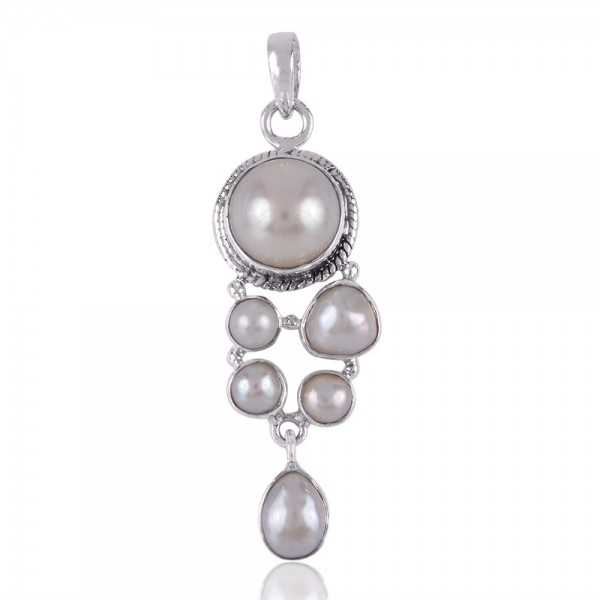 Pearl Gemstone 925 Sterling Silver Pendants