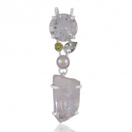 Crystal,Pearl Natural Gemstone 925 Silver Pendant
