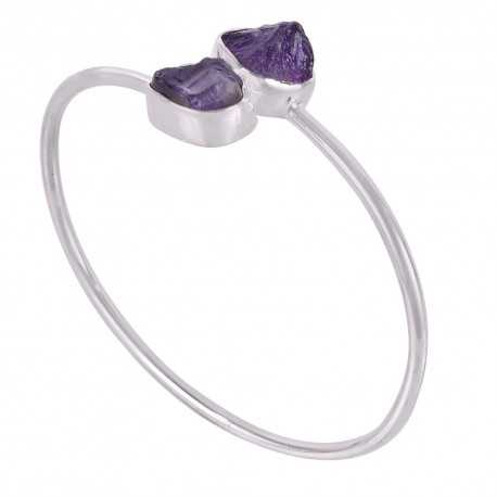 Amethyst Rough Gemstone 925 Silver Bracelet