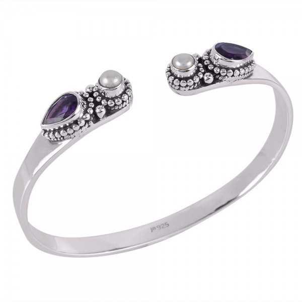 Amethyst,Pearl Gemstone 925 Sterling Silver Bracelet