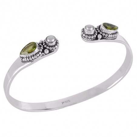 Peridot,Pearl Gemstone 925 Sterling Silver Bracelet