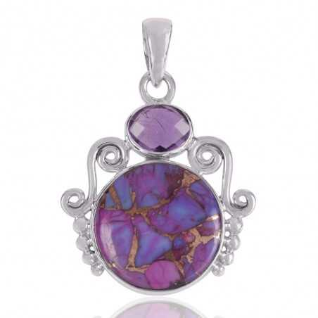 Purple Copper Turquoise And Amethyst Gemstone 925 Sterling Silver Pendant