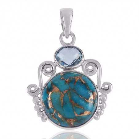 Sky Blue Topaz And Blue Copper Turquoise Gemstone 925 Sterling Silver Pendant
