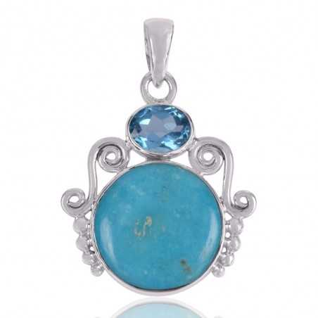 Arizona Turquoise And Sky Blue Topaz  Gemstone 925 Sterling Silver Pendant