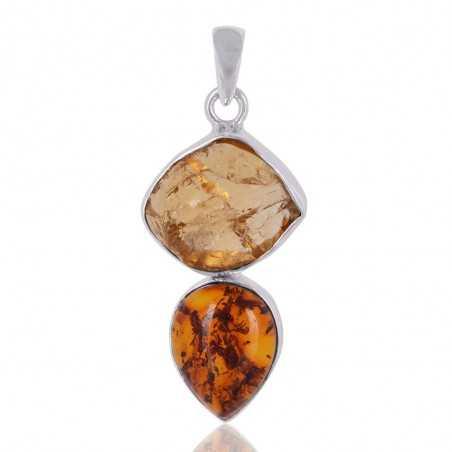Amber,Citrine Gemstone 925 Sterling Silver Pendant