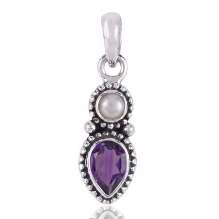 Pearl,Amethyst Gemstone 925 Sterling Silver Pendant