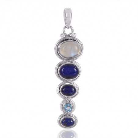 Lapis,Sky Blue Topaz And Rainbow Moonstone Gemstone 925 Sterling Silver Pendant