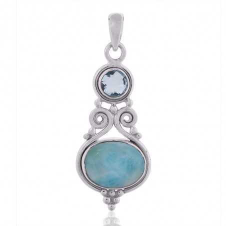 Larimar,Sky Blue Topaz Gemstone 925 Sterling Silver Pendant