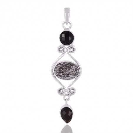 Tourmanilated Quartz,Black Onyx Gemstone 925 Sterling Silver Pendant