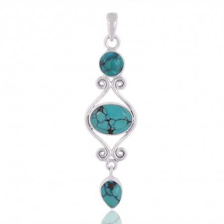Tibetan Turquoise Gemstone 925 Sterling Silver Pendant