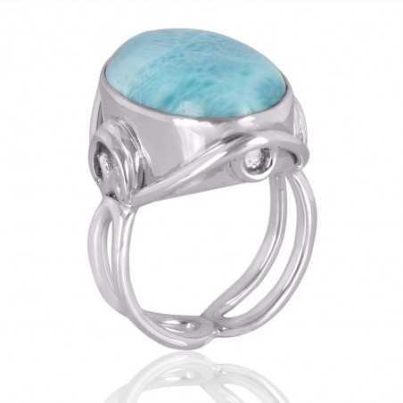 Larimar Natural Gemstone with Sterling Silver Designer Ring
