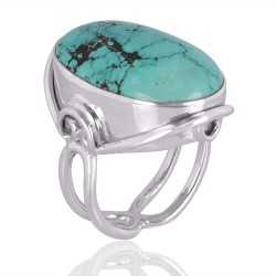 Tibetan Turquoise Gemstone 925 Sterling Silver Ring