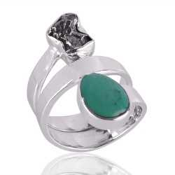Meteorite Rough And Tibetan Turquoise Gemstone 925 Sterling Silver Ring
