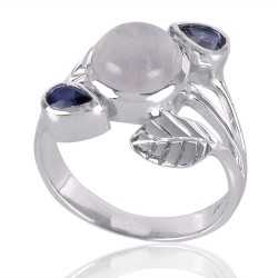 Iolite And Rainbow Moonstone Gemstone 925 Sterling Silver Ring