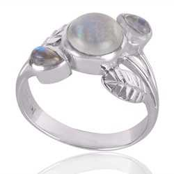 Natural Rainbow Moonstone Gemstone 925 Sterling Silver Ring