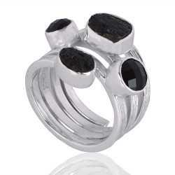Black Onyx With Tektite Gemstone 925 Sterling Silver Ring