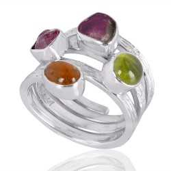 Idocrase And Tourmaline Gemstone 925 Sterling Silver Ring