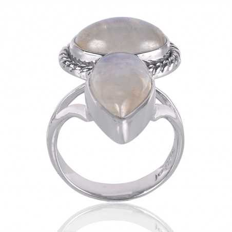 Natural Rainbow Moonstone Gemstone 925 Sterling Silver Ring