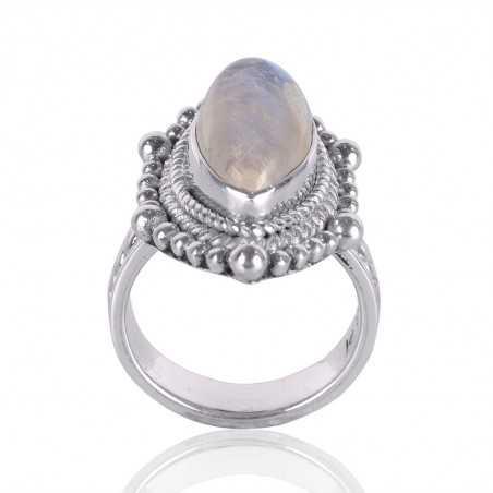 Rainbow Moonstone Gemstone Sterling Silver Ring
