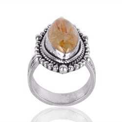 Rutilated Quartz Gemstone 925 Sterling Silver Ring