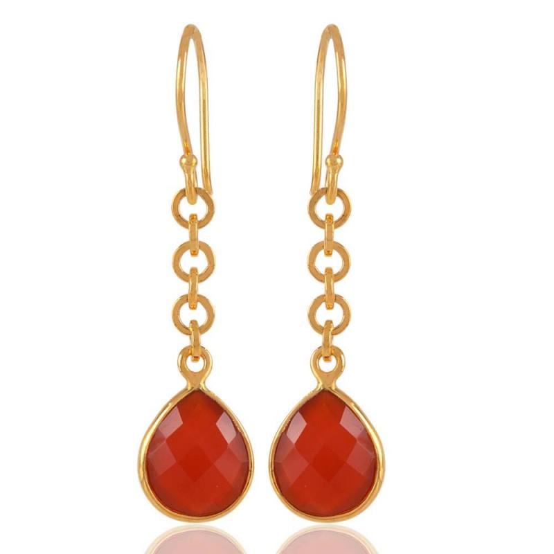 18k Gold Plated Sterling Silver Red Onyx Drop Earring Everyday Wear Earrings Loading Zoom
