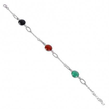 Red Onyx Green Onyx And Black Onyx Gemstone 925 Sterling Silver Bracelet