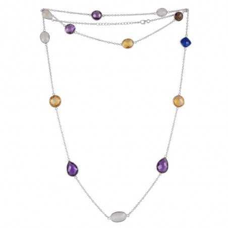 Amethyst Citrine Lapis Rainbow Moonstone Smoky Quartz Gemstone 925 Sterling Silver Necklace