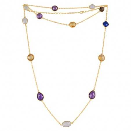 Natural Amethyst,Citrine,Lapis,Rainbow Moonstone,Smoky Quartz Gemstone 925 Sterling Silver Necklaces