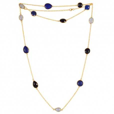 Natural Black Onyx Lapis Rainbow Moonstone Gemstone 925 Sterling Silver Necklaces
