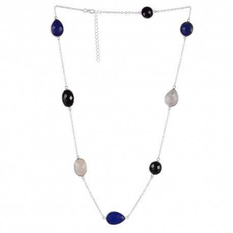 Black Onyx Lapis Rainbow Moonstone Gemstone 925 Sterling Silver Necklaces