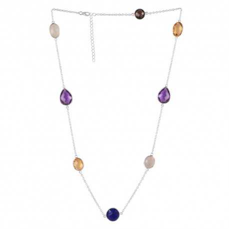 Smoky Quartz Amethyst Citrine Lapis With Rainbow Moonstone Gemstone 925 Sterling Silver Necklaces