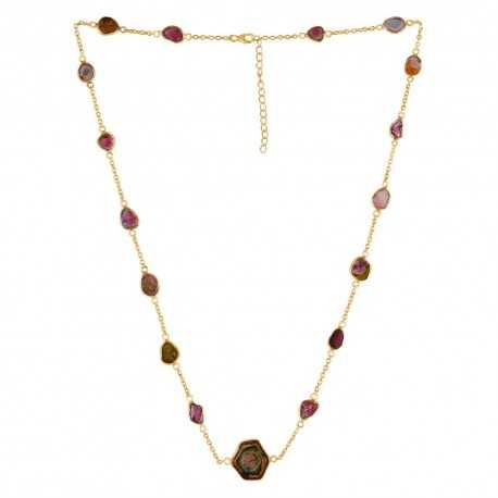Natural Tourmaline Gemstone 925 Sterling Silver Necklaces