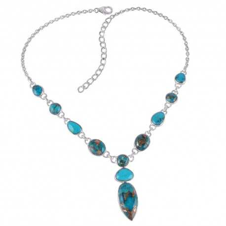 Blue Copper Turquoise Arizona Turquoise Gemstone 925 Sterling Silver Necklaces