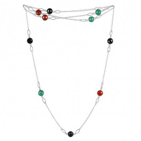 Natural  Multi Gemstone 925 Sterling Silver Necklaces