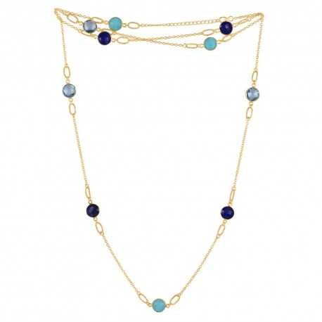 Sky Blue Topaz Multi Gemstone 925 Sterling Silver Necklaces