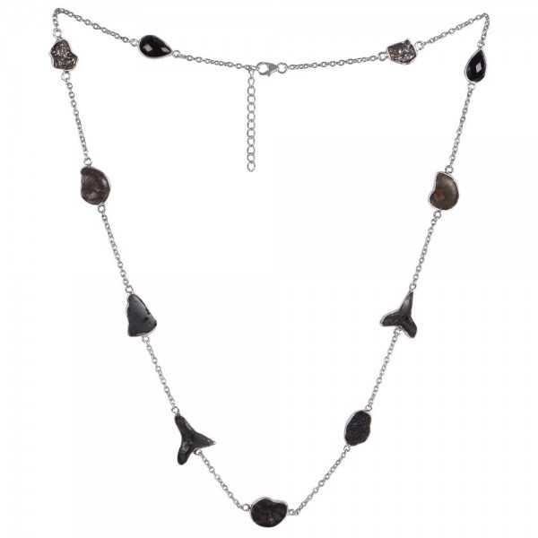 Natural Tektite Multigemstone 925 Sterling Silver Necklaces