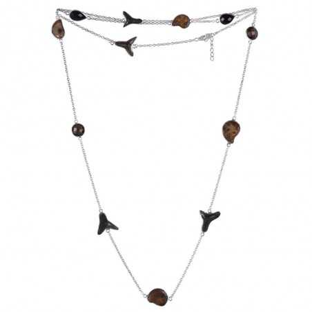 Natural Black Onyx Hematite Sark Teeth And Smoky Quartz Gemstone 925 Sterling Silver Necklaces
