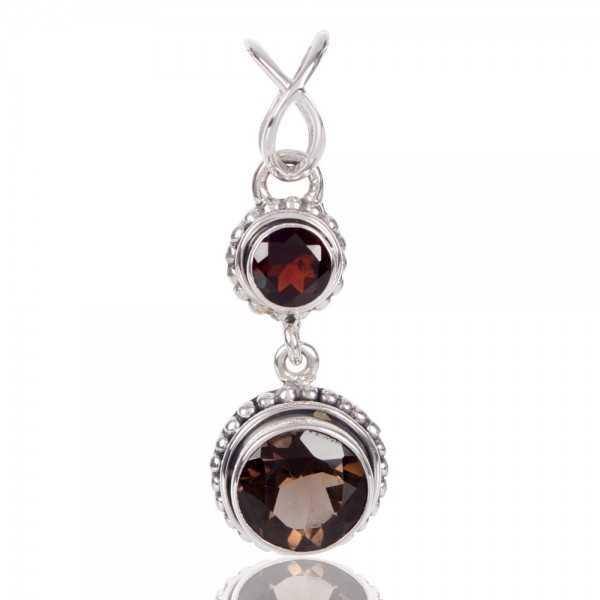 Rajasthan Gems Handmade 925 Sterling Silver Pendant Natural Red Garnet Gemstone