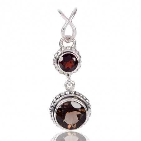 Garnet With Smoky Quartz Gemstone 925 Sterling Silver Pendant