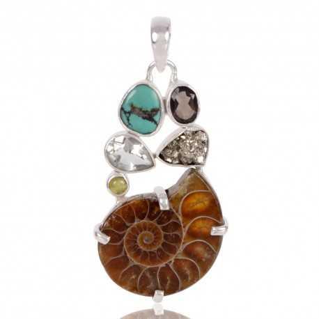 Green Amethyst Idocrase Medagaskar Ammonite Pyrite Smoky Quartz And Tibetan Turquoise Gemstone 925 Sterling Silver Pendants