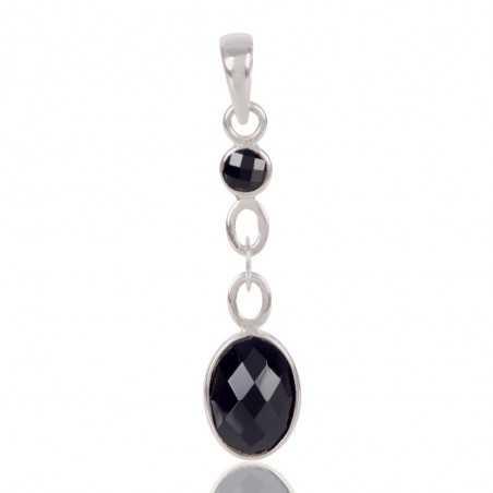 Natural Black Onyx Gemstone 925 Sterling Silver Pendant